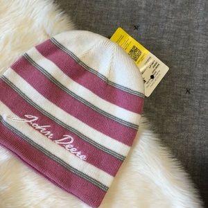 NWT John Deere embroidered pink  striped beanie